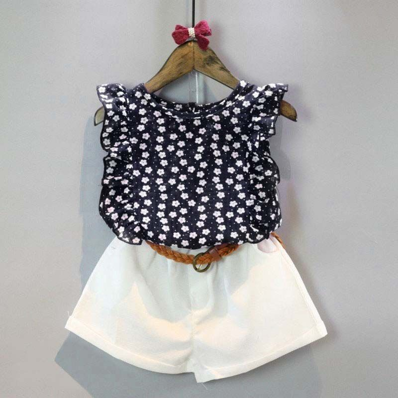 2pcs Toddler Baby Girls Sleeveless Chiffon Blouse+Shorts Summer Fashion Clothes
