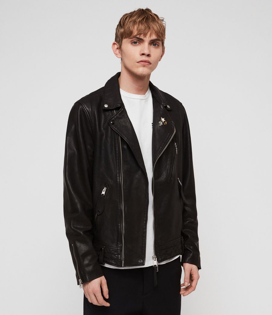 Allsaints Us Mens Vice Leather Biker Jacket Black Biker Jacket Suede Bomber Jacket Leather Bomber Jacket [ 1044 x 900 Pixel ]