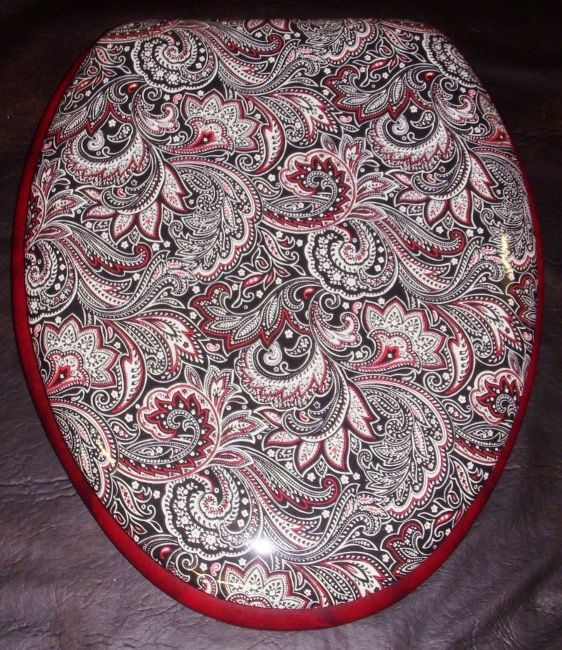 black padded toilet seat.  Black and Red Paisley designer padded toilet seat by CloudSoftSeats New Pattern