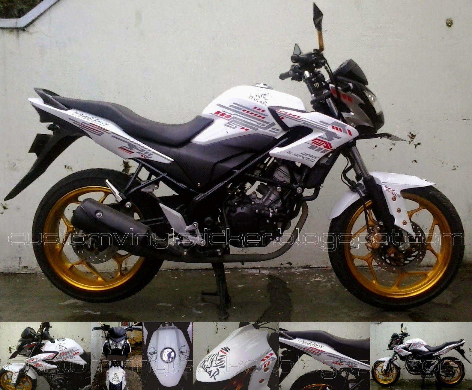 Honda CB150R White White Wrap & Custom Dakar Strip Sicker