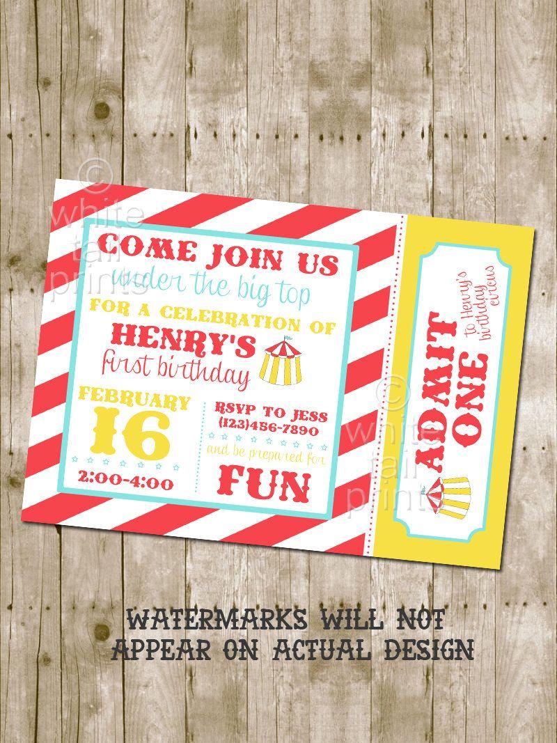 Circus Themed Birthday Invitation - Customizable and Printable ...