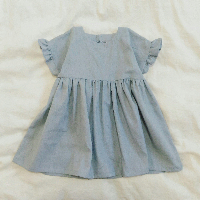 型紙 作り方 子供のフリル袖ワンピース 女の子のドレス 子供服 ワンピース 子供 ワンピース