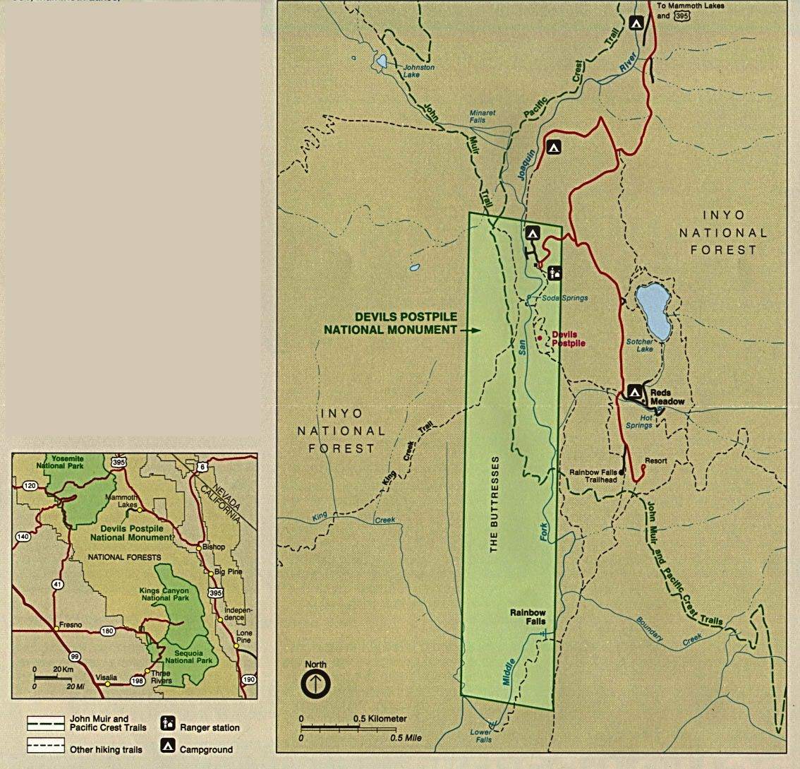 Devils Postpile National Monument Map - Devil039s Postpile • mappery ...