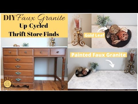 DIY Faux Granite Paint Technique � Gold Leaf | Up-cycled Thrift Store Finds