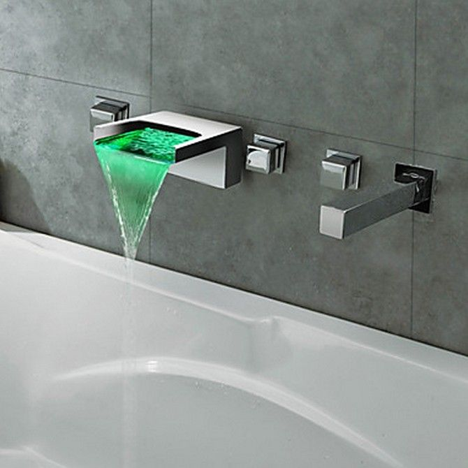 Thermochromic Chrome Finish LED Waterfall Bathroom Tub Faucet ...