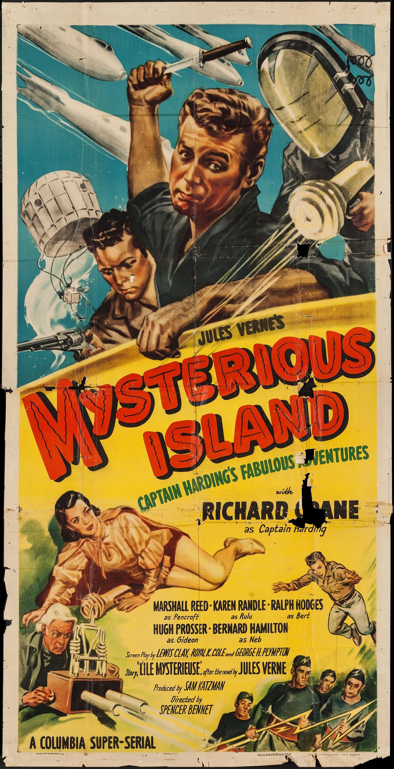 Poster design with a lot of text - Mysterious Island Columbia 1951 Three Sheet 41 X Lot Poster Designposter