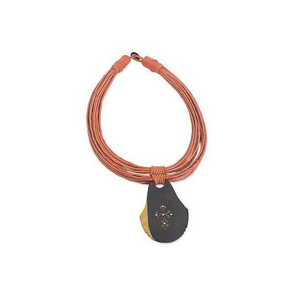 NOVICA Ebony Wood Pendant Necklace with Orange Leather Cord (5.925 RUB) ❤ liked on Polyvore featuring jewelry, necklaces, black, statement, novica jewelry, wooden necklaces, strand necklace, thin necklace and wooden pendant