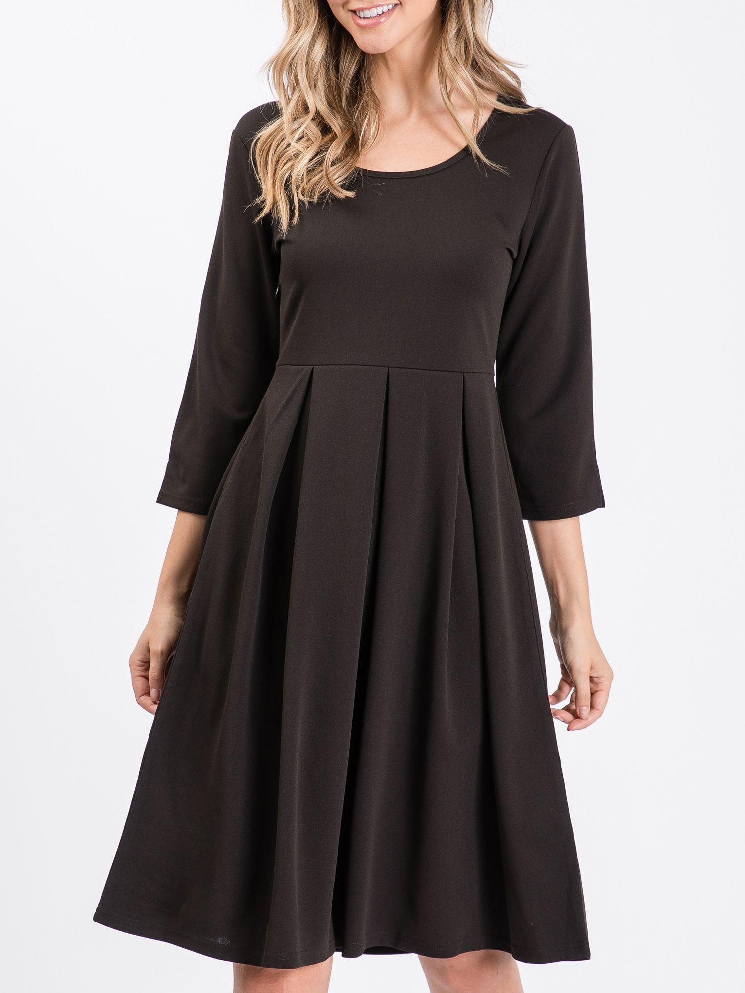 Doublju Doublju Women S 3 4 Sleeve Pleated Dress Plus Size Available Walmart Com Pleated Dress Dresses Women [ 2000 x 1500 Pixel ]
