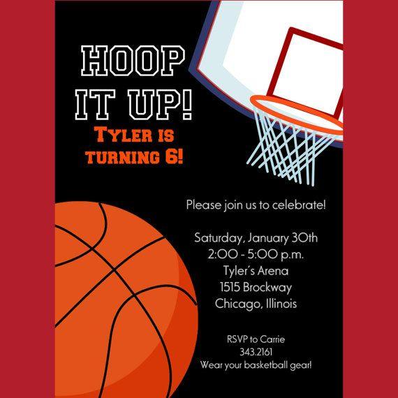 Basketball Invitation Printable Invitation File Custom Etsy Basketball Invitations Party Invite Template Basketball Birthday Invitations