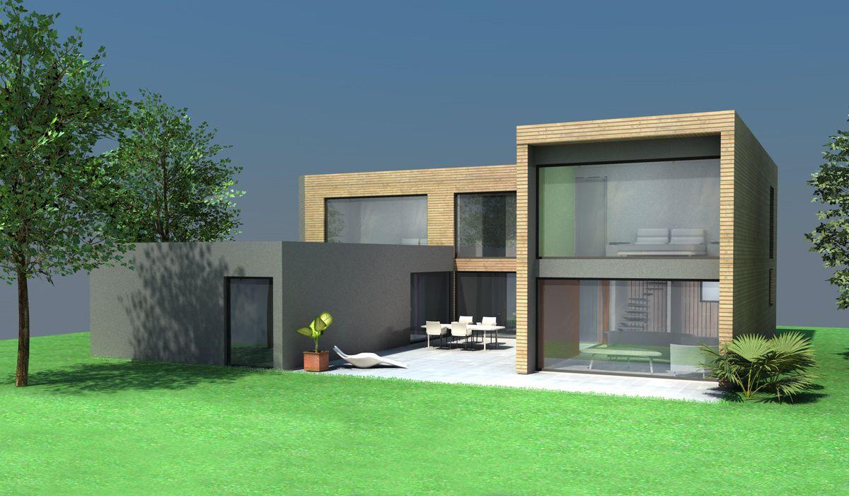 Maison contemporaine cubique bois et béton à côté de Toulouse ...