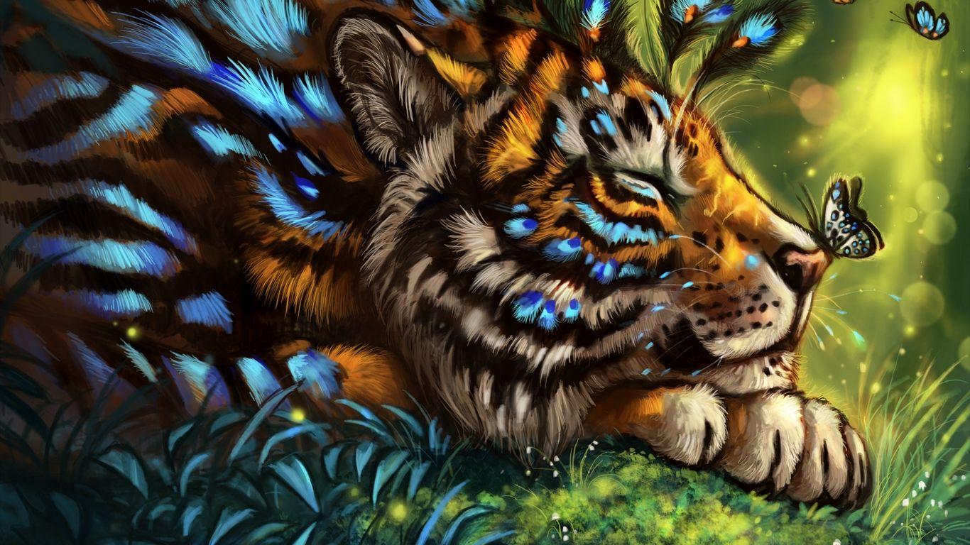 1366x768 Wallpaper tiger, art, butterfly, muzzle, dream