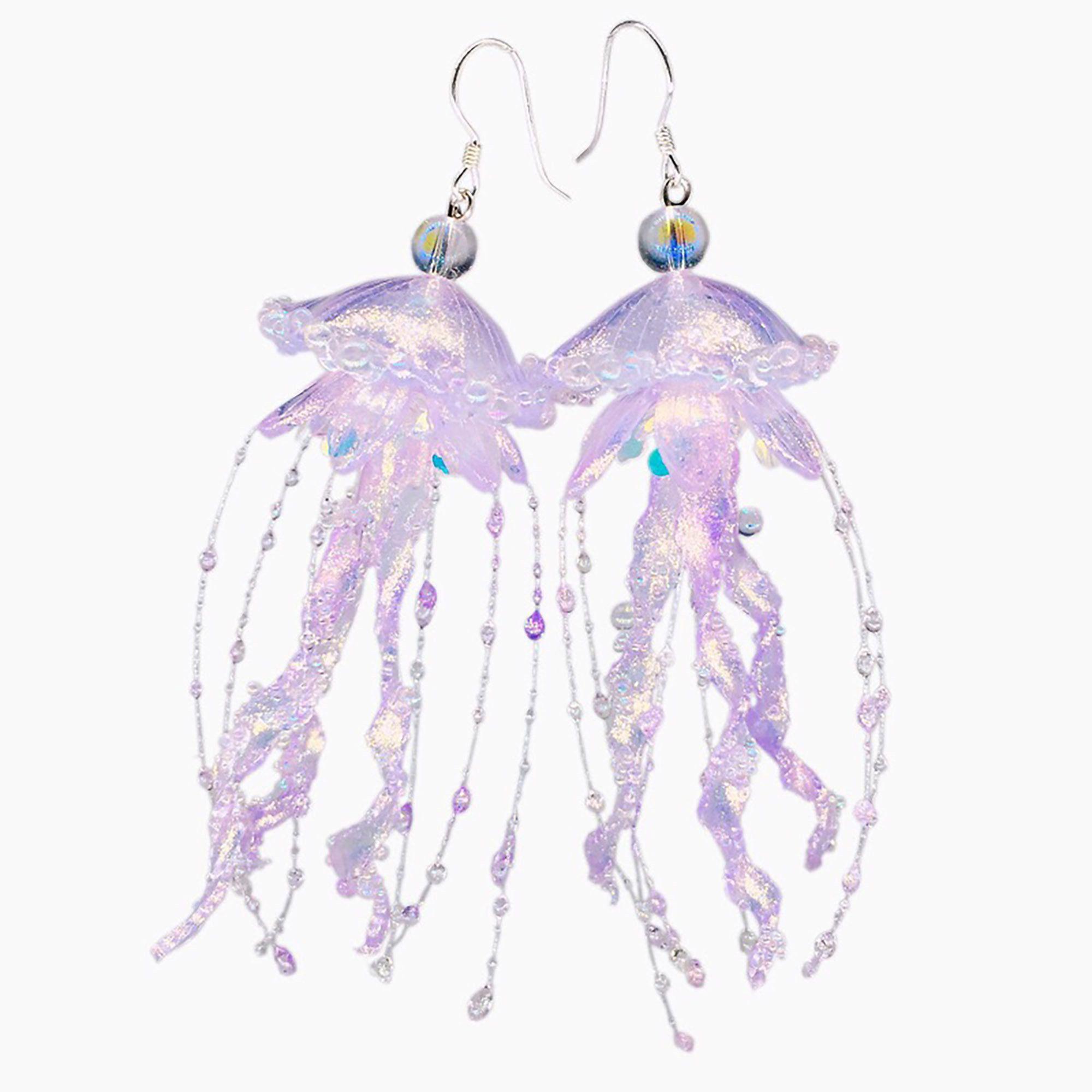 Handmade Jelly fish earrings-Ear hook or Ear Clip Jellyfish Earrings Jellyfish Earring