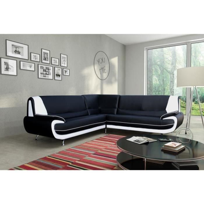 CANAPé SOFA DIVAN SPACIO Canapé d angle 6 places Simili noir