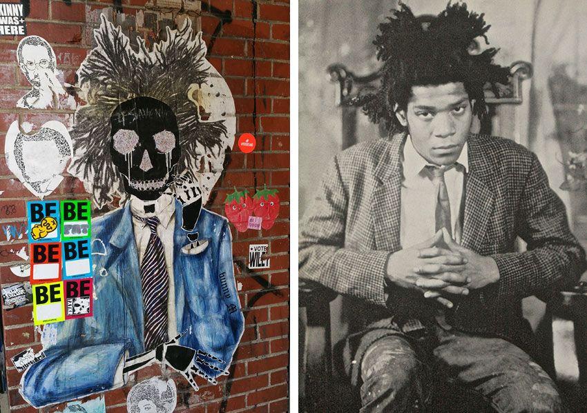 "Basquiat street art by ""Bunny M,"" above left, based on original photo of Jean-Michel Basquiat by James Van Der Zee, above right."