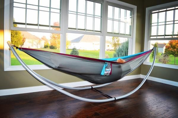 Hy Times Parachute Hammock With Lightweight Portable Stand 8 Piece Collapsible Frame Into A