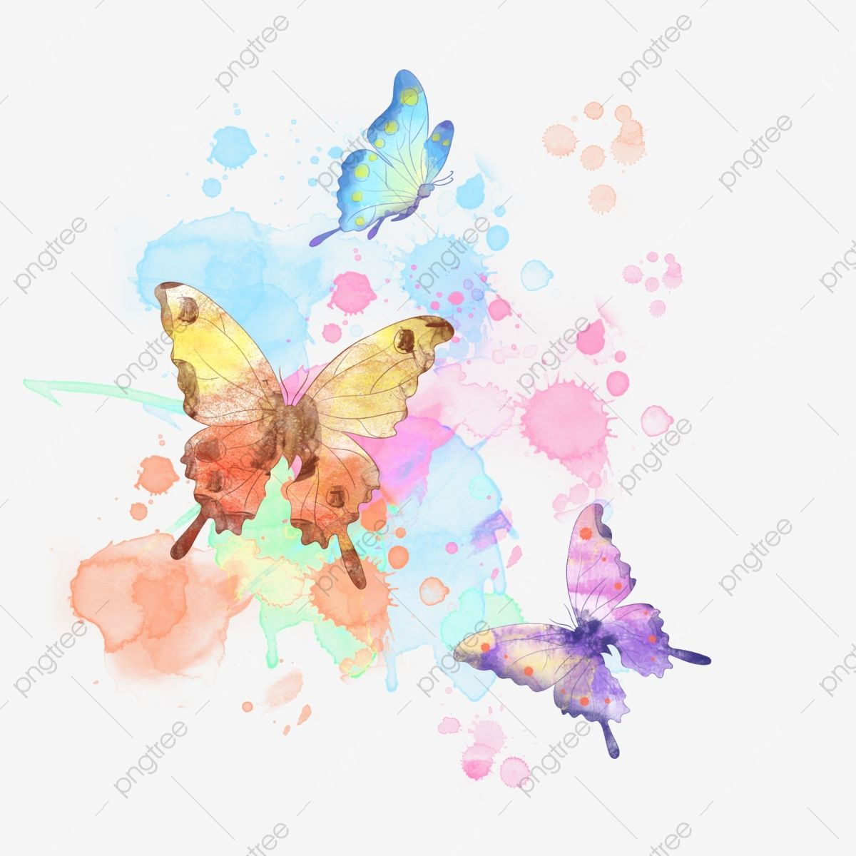 Watercolor Butterfly Insect Colorful Butterfly Png Transparent Clipart Image And Psd File For Free Download Butterfly Watercolor Butterfly Background Butterfly Illustration