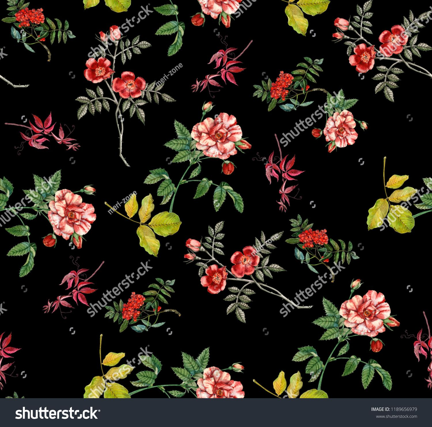 Abstract Seamless Floral Pattern With Of Red Roses And Pink And Blue Freesia On Black Background Pattern Red Black Background Pattern Red Roses Floral Pattern