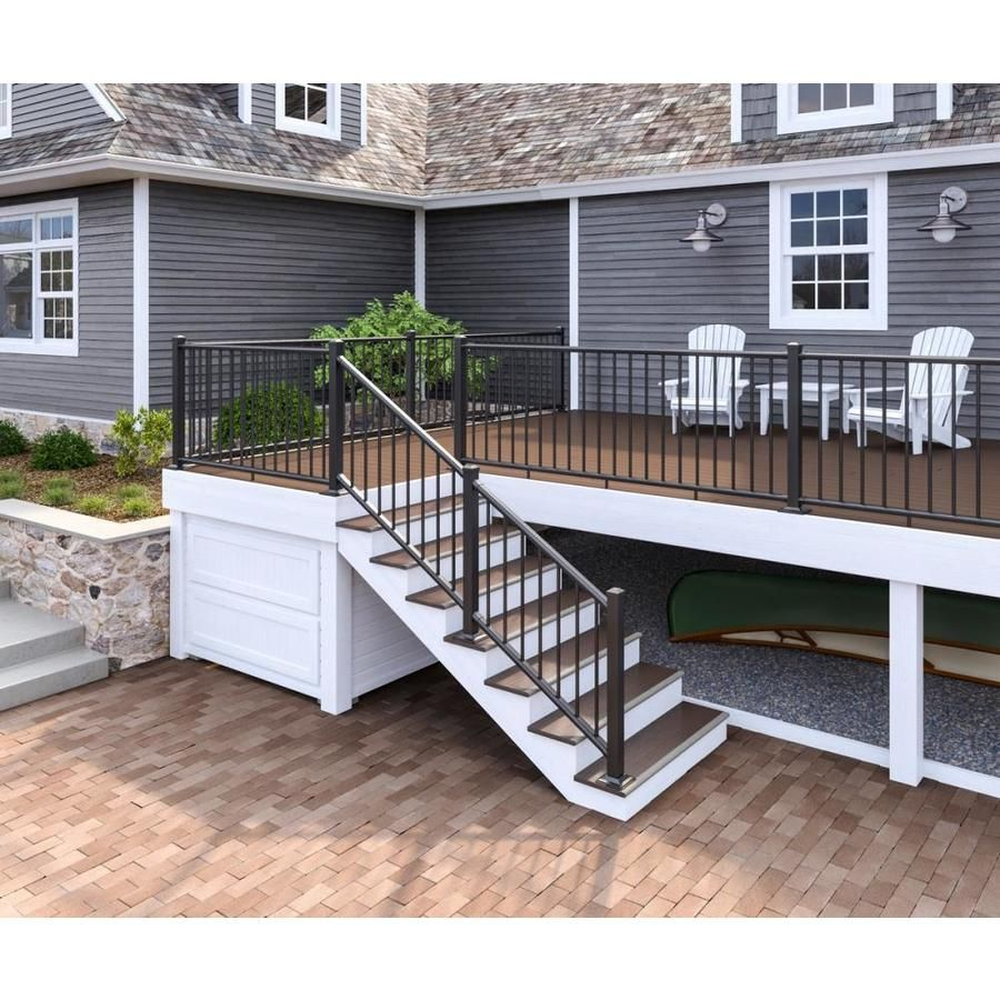 Deckorators Classic Aluminum Satin Black Aluminum Deck Rail Kit With Balusters Lowes Com In 2020 Deck Designs Backyard Patio Deck Designs Aluminum Railing Deck