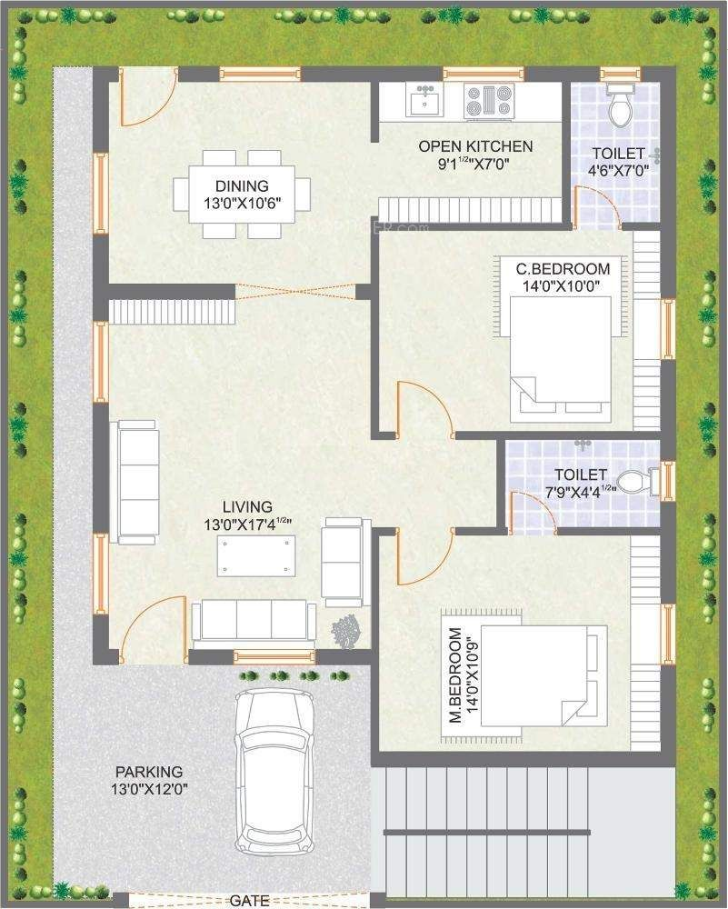 Tiny Home Designs: Praneeth Pranav Meadows Floor Plan 2bhk 2t West Facing Sq