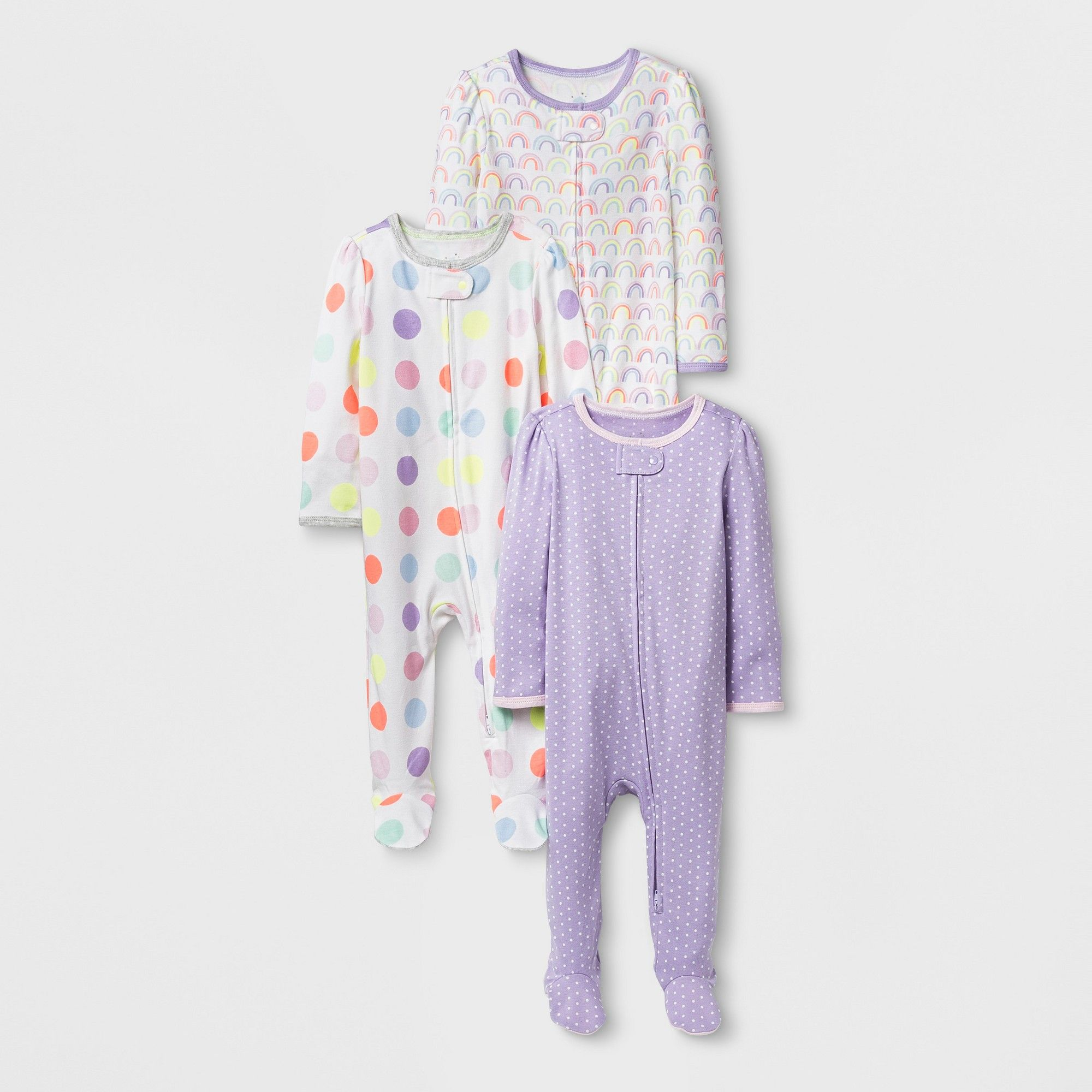 2ff0a08033 Baby Girls  3pk Rainbow Snp - Cloud Island White NB