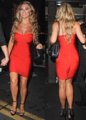 Christine In Herve Leger Style Red Strapless Bandage Dress