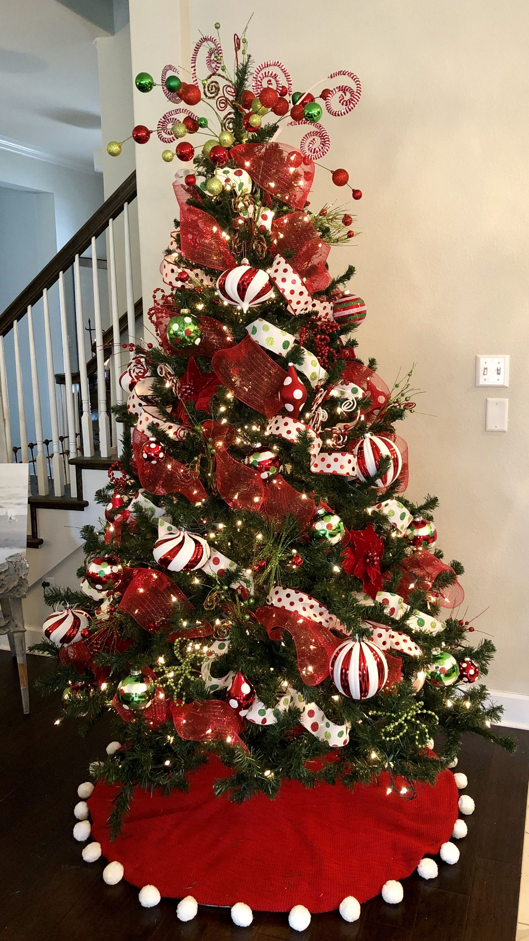 Holiday Tree 2018 Red Mesh Ribbon Polka Dot Wired Ribbon In Green And Red And Ribbon On Christmas Tree Christmas Tree Inspiration Christmas Tree Decorations