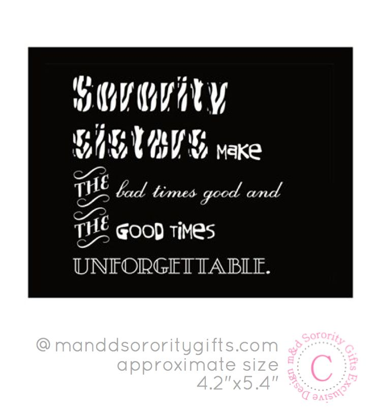 $3.98 Sorority Sister Quote magnet. Sorority magnets that touch