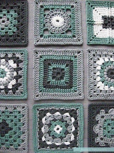 Crochet meets Patchwork - green squares loose Tutorial  ༺✿Teresa Restegui http://www.pinterest.com/teretegui/✿༻