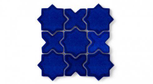 Mini Star & Cross Azul Tile | Eco-Friendly Handmade Tile | Fireclay Tile
