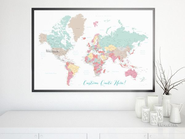 Custom quote world map print map with cities color combination maps gumiabroncs Gallery