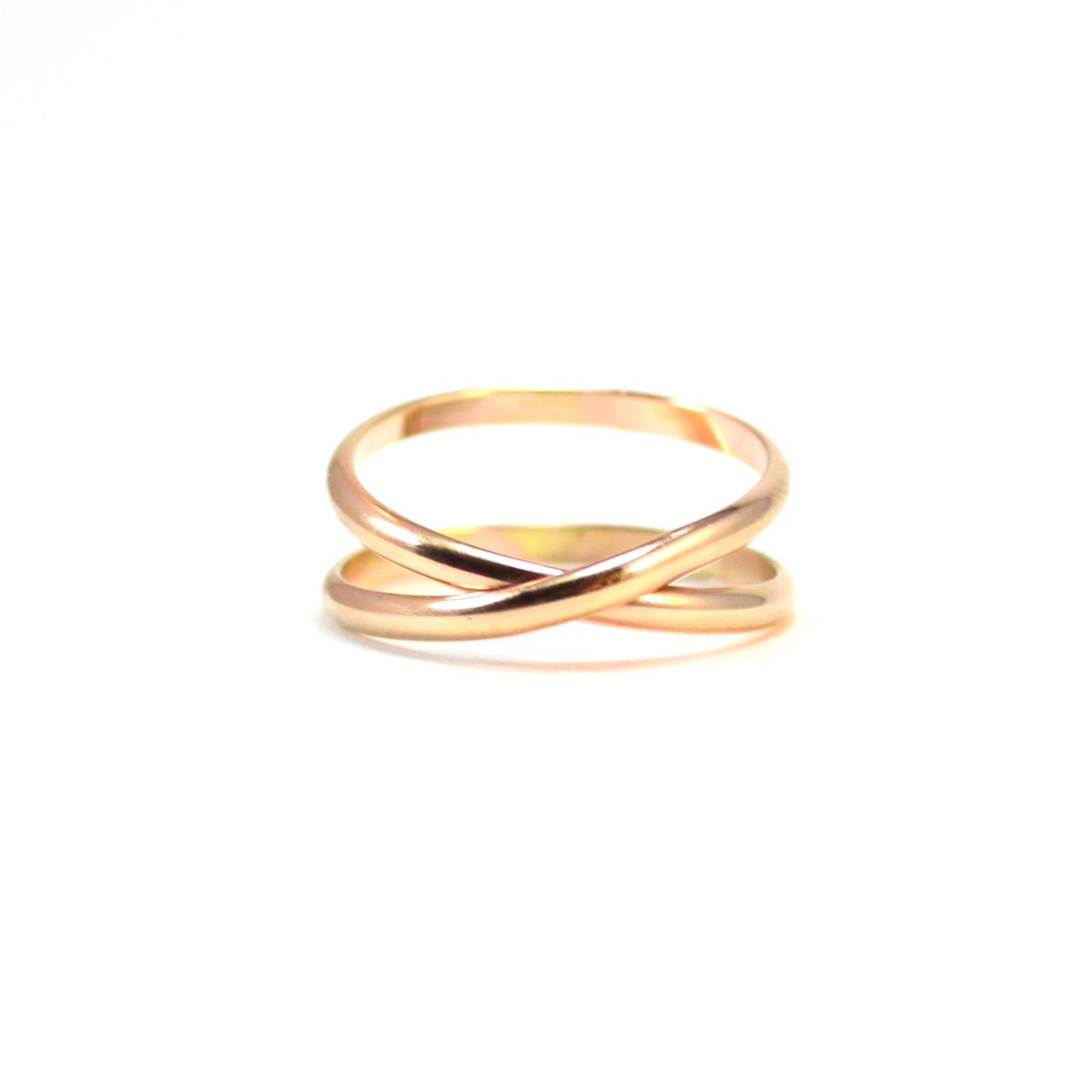 wedding bands criss unique gold pink pin cross band infinity ring