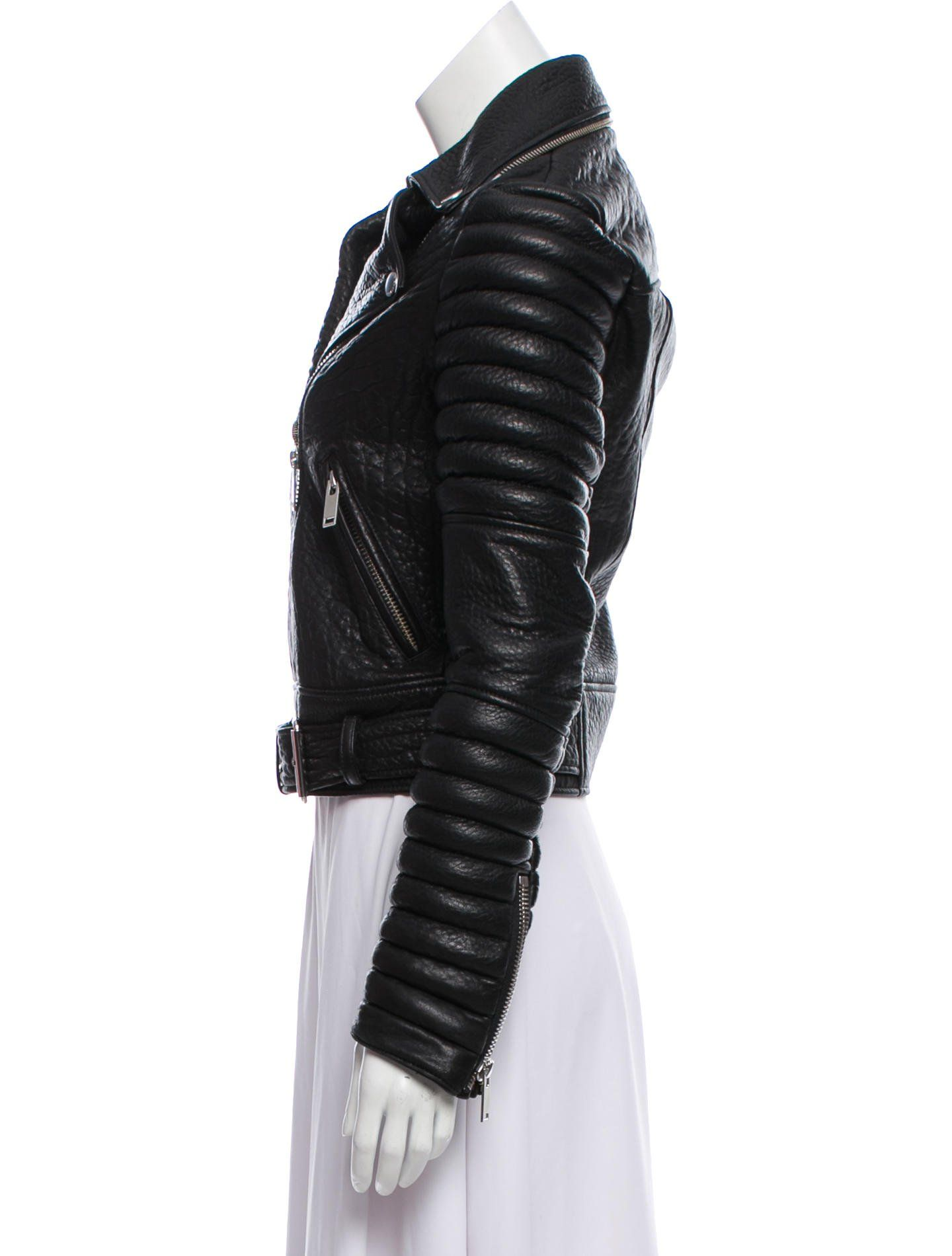 Black The Arrivals Leather Biker Jacket With Notched Lapels Quilted Sleeves Dual Pockets At Hips Buckle Accent At Biker Jacket Leather Biker Jacket Jackets [ 1900 x 1440 Pixel ]