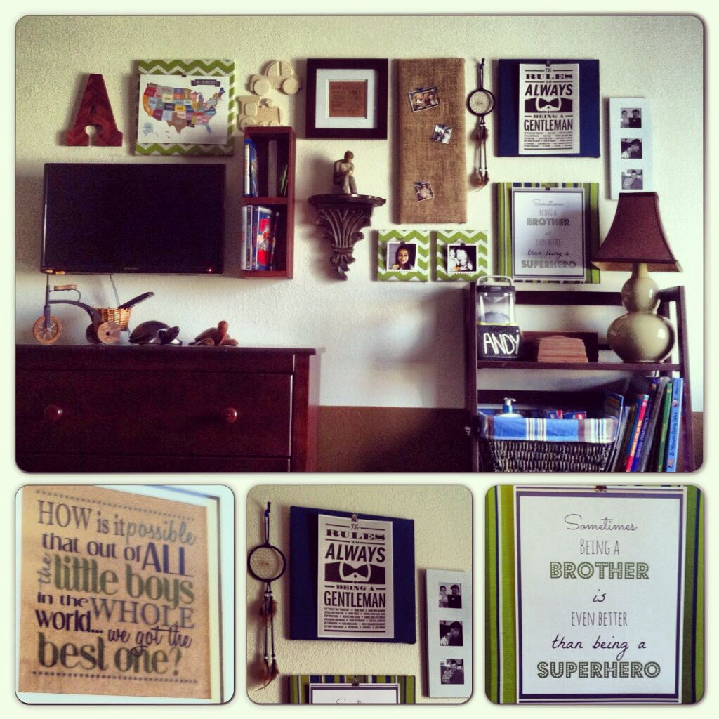 Boys wall gallery done on the cheap. Fabric covered cork squares with Pinterest printables.  Letter initial mod podged with scrapbook paper. Wood box (from Michaels) hung to store DVDs. All put together to help conceal the TV.
