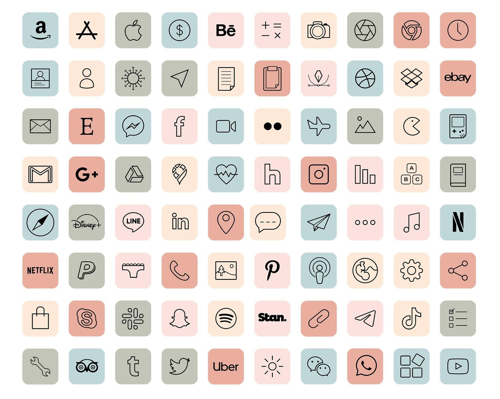 iOS 14 App Icons / 640 Pastel Aesthetic icons iOS14 / Vintage iOS14 App Icons / iPhone Icon App Pack