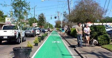 Tempura paint bike lane