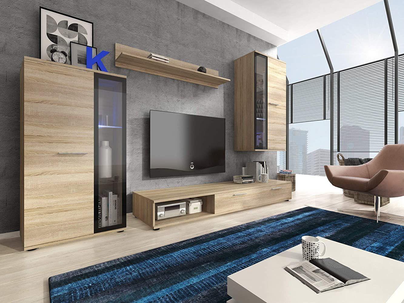 Furniture24 Eu Wohnwand Anbauwand Pino Sonoma Eiche Mit Led Beleuchtung Innenarchitektur Wohnzimmer Wohnen Wohnzimmerschranke