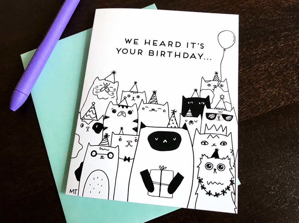 Excited To Share This Item From My Etsy Shop Printable Cat Birthday Card