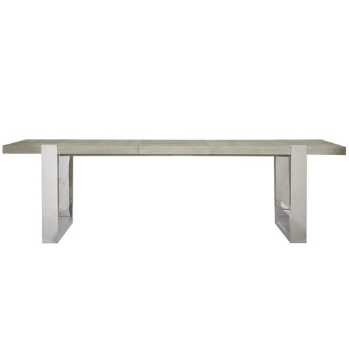 Desmond Modern Oak Wood Stainless Steel Extension Dining Table