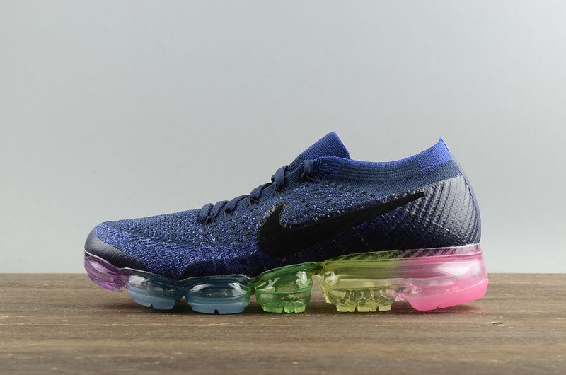 756ed6cc6864 Nike Air VaporMax Flyknit Betrue Navy Blue Rainbow 2018 Running Shoes  Sneakers 883474-400