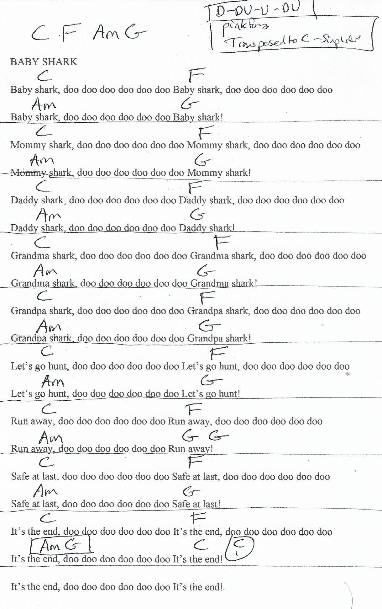 Baby Shark (PinkFong) Guitar Chord Chart in C Major ...