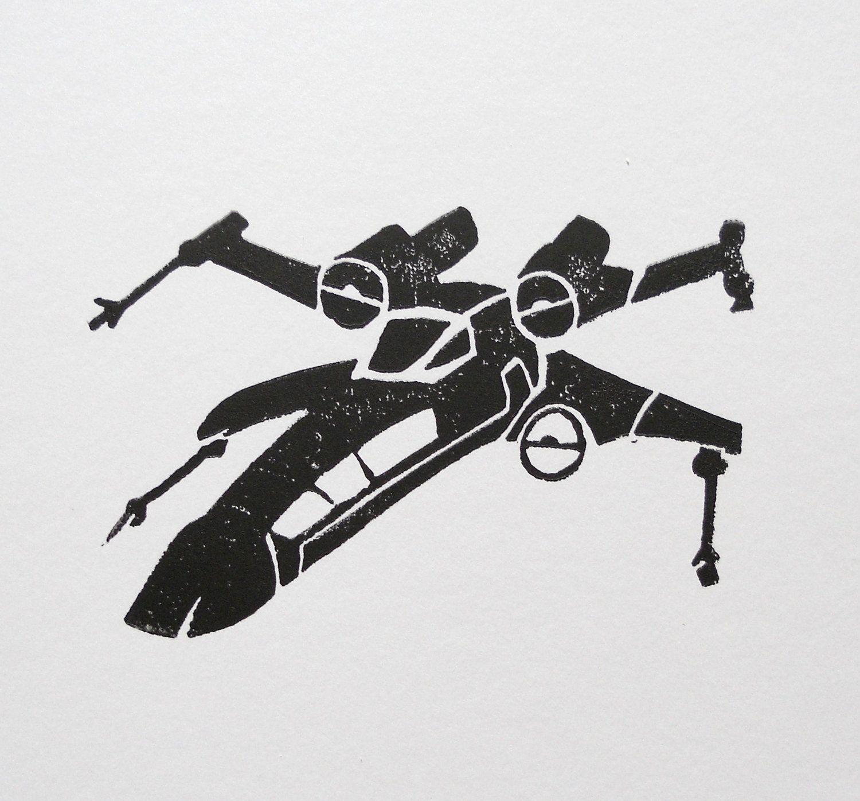 x wing pumpkin template  Star Wars X Wing - Black Silhouette Hand Press Block Print 6 ...