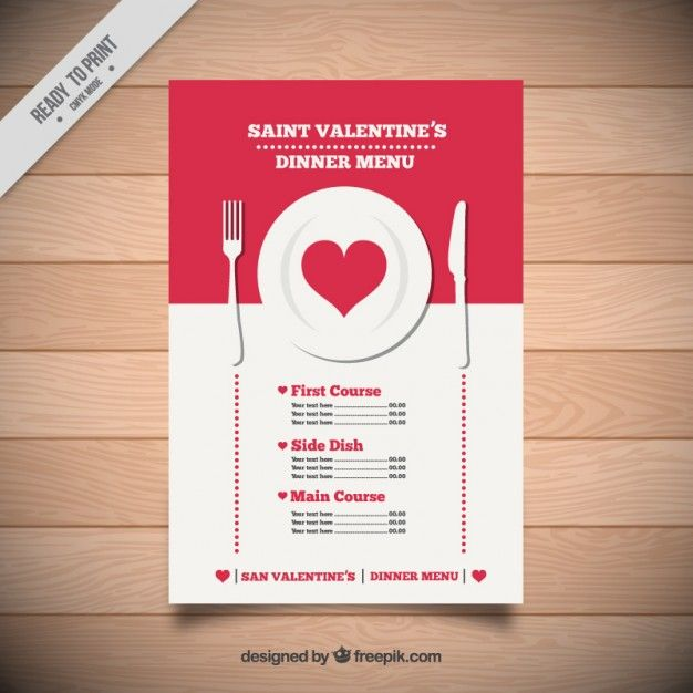 Saint Valentine Dinner Menu Free Vector Freepik Freevector Food Menu Heart Love Valentine Dinner Dinner Menu Saint Valentine