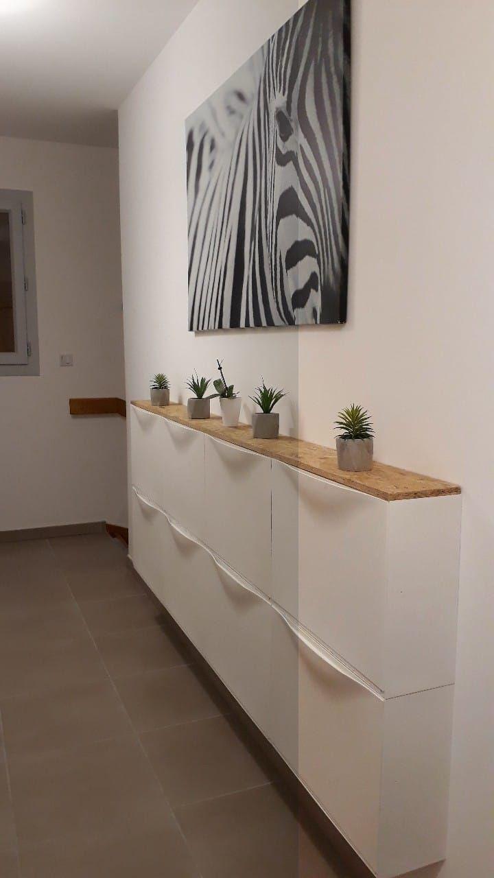 Meuble à chaussures IKEA TRONES transformé en un meuble d'entrée #decorationentree