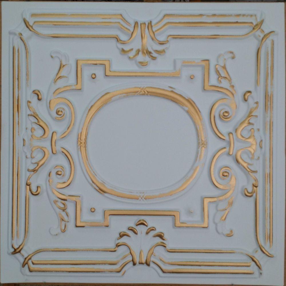 details about pl15 faux tin white gold ceiling tiles cafe club pub