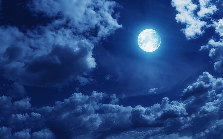 white moon, clouds, sky, moonlight, night, cloud - sky, space HD wallpaper - mag...