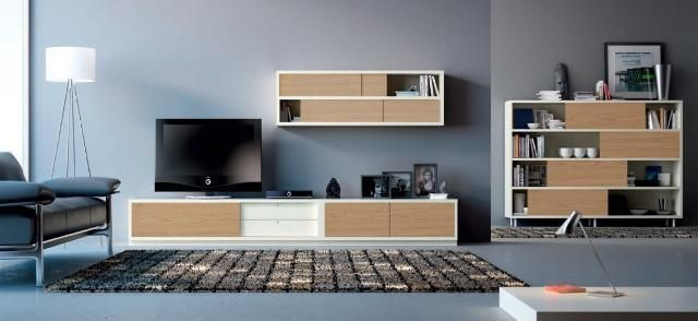 Conjunto de muebles de sal n en madera clara con detalles for Salon blanco y madera