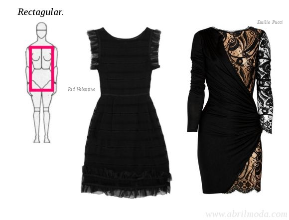 Vestidos formales para cuerpo rectangular