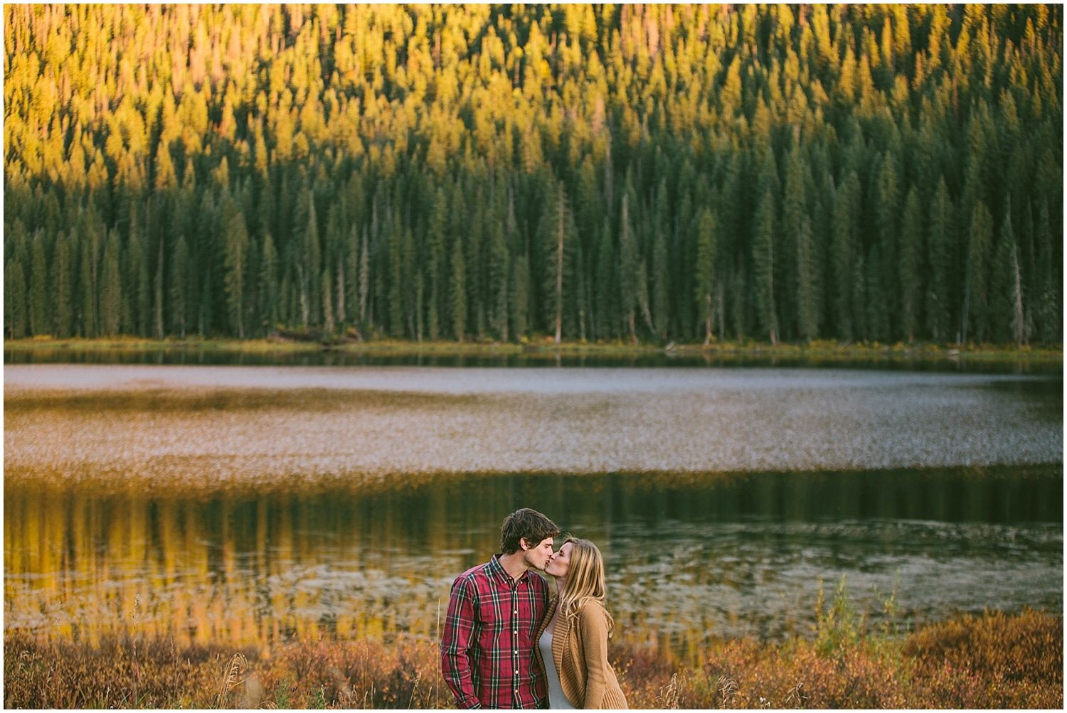 Engagement session by a lake in the mountains Colorado - Perfection!