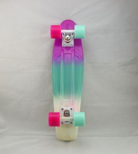 Rainbow Penny Style Skateboards Board Complete 22 Pastel Fade 3 Color Pbw P B Penny Skateboard Penny Board Penny
