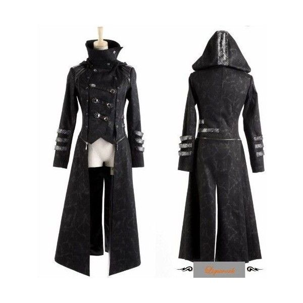 Black Hooded Military Gothic Calvary Jackets Trench Coats Women ...